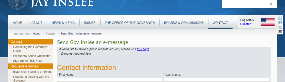 a screenshot of gov. jay inslee's contact page on the governor's website.