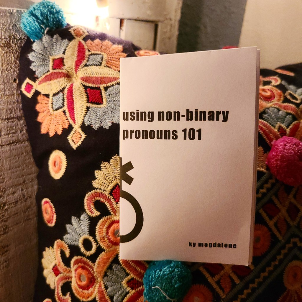 "image description: eight-page ""using non-binary pronouns 101"" mini zine pictured against a colorful pillow with intricate embroidered designs. the zine's cover has it's title and author's name, ky magdalene, as well as half of a non-binary gender symbol. the pillow rests against a couple unidentifiable white wooden structures and a small slice of blue wall."